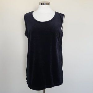 Bob Mackie Black Velvet Sleeveless Top Size Medium